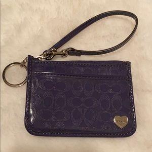 Coach Purple Key Chain Wallet Wristlet Heart Logo